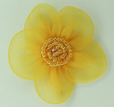 5 X Large Organza Flowers Sew On Appliques   Colour: Yellow Gold   #2