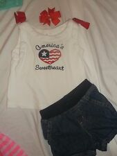 GYMBOREE ✿2T✿GIRL✿OUTFIT✿ Top~Wht ~Heart Red/Wht/Blu &Blu Jean Shorts *BOW