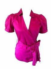 Banana Republic Puff-Sleeve Stretch Cotton Blouse Pink Magenta Small