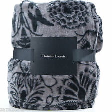 PLAID COUVERTURE REVERSIBLE SIGNÈ CHRISTIAN LACROIX NOIR GRIS ZAZA2CATS 038 *