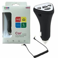 Car Handsfree Bluetooth FM Transmitter AUX Audio Adapter w/Mic USB Phone Charger