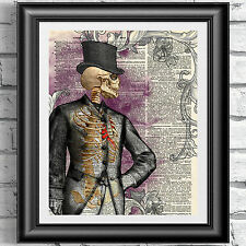 ART PRINT ON ORIGINAL ANTIQUE BOOK PAGE Goth Victorian Skull Gent Dictionary