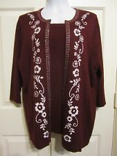 Plus Size 1X CATHY DANIELS Layered Look Embellished Pull Over Sweater Rhinestone
