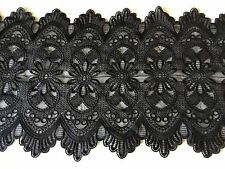 NEW Jet Black Anglaise Guipure Fashion Double Scallop Lace Fabric Trimming Party