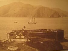 ANTIQUE SAN FRANCISCO 1880 FORT POINT SCHOONER TUG BOAT LONE SOLDIER RARE PHOTO