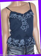 Abercrombie & Fitch Womens NAVY BLUE Floral Ruffle Cami Tank Top XTRA SMALL XS