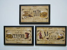 Java Mocha Latte Classico bistro kitchen wall decor plaques 3 coffee lover signs