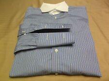 Nwot Ralph Lauren Black Label Blue Striped French Cuff Dress Shirt Size 15 1/2