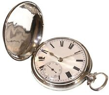 Very Large Antique Full Hunter Pocket Watch C.1820 Silver Fusee Verge. Serviced