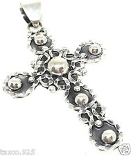 VINTAGE DESIGN TAXCO MEXICAN STERLING SILVER BEADED BEAD CROSS PENDANT MEXICO