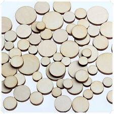 50pcs WOODEN MINI MIXED WOOD CIRCLE ROUND RING CRAFT CARD MAKING SCRAPBOOKING