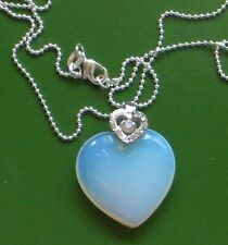 """OPALITE HEART SHAPED 1"""" PENDANT SOLID 925 SILVER FREE 925 CHAIN FOR YOUR LOVE!!"""