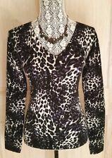 SAKS FIFTH AVENUE 100% CASHMERE V-Neck Sweater ~ L ~ Animal Print ~ EUC