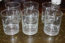 1988 Calgary Winter Olympics Frosted Rock Glasses with Athletes Set of 6 Mint