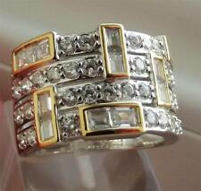 DIAMONIQUE 3.6ct STERL SILVER GOLD ACCENT DECO BAND RING UK- M; US- 6.5; NEW QVC