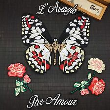 Set of 5 Large Butterfly & Floral Embroidered Sew On Patch DIY Clothing Applique