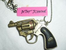 "NWT Betsey Johnson Bronze Gun Pistol Revolver BANG BANG 20"" Long Necklace"