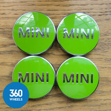 4 x NEW GENUINE ORIGINAL MINI ALLOY WHEEL CENTRE CAPS HUB BADGES GREEN F56