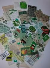 vintage ephemera paper variety box lot tickets stamps labels green pieces 75+  X
