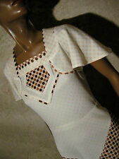 CHIC VINTAGE ROBE POIS 1970 VTG DRESS 70s POLKA KLEID 70er ABITO RETRO (36/38)