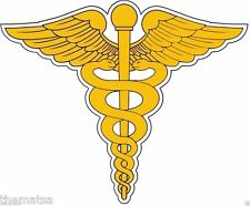 GOLD CADUCEUS MEDICAL LAPTOP TOOLBOX HELMET BUMPER STICKER DECAL MADE IN USA