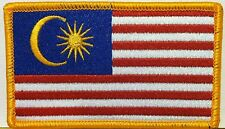 MALAYSIA Flag Military Patch With VELCRO® Brand Fastener Gold Border #02