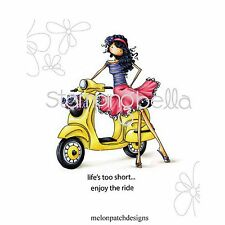 Stamping Bella Uptown Girls VIENNA & HER VESPA Cling Mount Rubber Stamp eb223