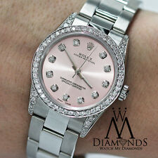 Diamond Ladies Rolex Oyster Perpetual Mid-size 31mm Pink Dial Watch 67480