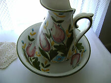 NORA FENTON LARGE WASH BOWL AND PITCHER LARGE FLOWER DESIGN