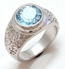 Solid 925 Sterling Silver Natural Gem Stone Blue Topaz Men's Ring Size 8 9 10 11