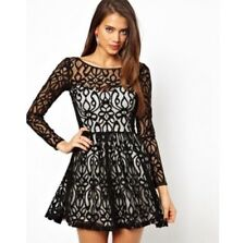 Lipsy Black Lace Skater Dress Size 6 Brand New With Tags