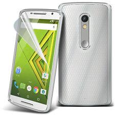 Ultra Thin Clear TPU Gel Skin Case Cover & LCD Film For Motorola Moto X Play