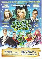 An 8 x 6 inch flyer for 2014/15 Jack & Beanstalk St. Helens. Signed by  4.