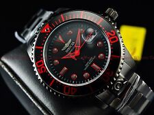 Invicta 300m Men's Fire Red Stealth Triple Black Grand Diver Automatic SS Watch