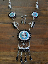 Vintage Zuni Sunface Inlay Necklace And Earrings Set
