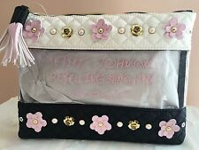 NWT Betsey Johnson 'In Bloom' Flowers & Pearls Clear Cosmetic Pouch Bag $68