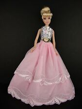 Pink Gown with Straps and Eyelet Lace Made to Fit Barbie Doll