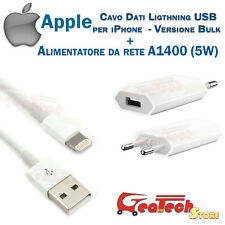 CAVO DATI LIGHTNING ORIGINALE APPLE P iPhone 6 6S MD818 + POWER ADAPTER 5W A1400