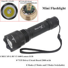 C8 Mini CREE XP-L HI V3 8 Modes 1600 Lumens 12w 8x AMC7135 LED Flashlight Torch