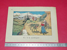 RARE 1920 CHROMO GRANDE IMAGE ECOLE BON-POINT ILLUSTRATEUR F. RAFFIN MONTAGNE