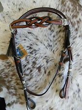 Dark Oil Infinity Knot Browband Leather Headstall & Breast Collar Set Horse Tack