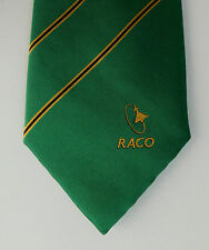 RACO corporate tie green stripe aeroplane logo aircraft flying aviation silk mix