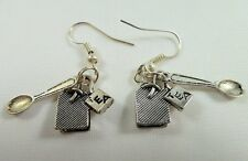 Alice in Wonderland Earrings, Handmade, Tibetan Silver, Tea Bag with Tab & Spoon