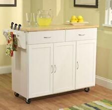 Kitchen Cart Island With Butcher Block Table On Wheels Portable Storage White