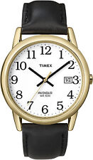 Timex T2H291, Men's Easy Reader, Black Leather Watch, Indiglo, Date, T2H2919J