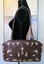 NWT LEADERS IN LEATHER SCROLL CUTOUT TOOLED LEATHER PURSE Brown/Ivory