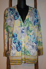 ANTHROPOLOGIE~sparrow~YELLOW Blue FLORAL~Cinchona~CARDIGAN SWEATER~Cotton~XS