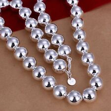 Stunning 925 Sterling Silver Filled 14MM Big Ball Beads Charm Necklace Chain 22""