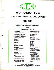 1966 DUPONT IMPORTED CAR COLOR REFERENCE SUPPLEMENT GUIDE CHART BROCHURE