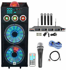 "NYC Acoustics Dual 12"" Karaoke Machine/System w/5 Mics 4 ipad/iphone/Android/TV"